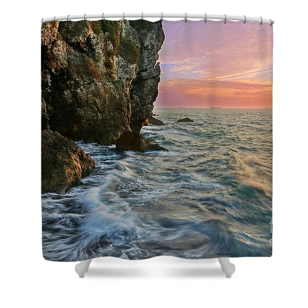 Rocky Cliffs And Waves During Sunset Shower Curtain