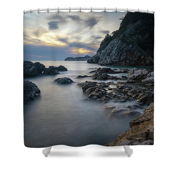 Shower Curtain featuring the photograph Rocky Coast Near Dubrovnik by Milan Ljubisavljevic
