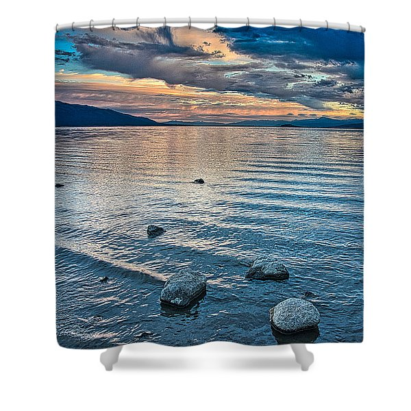 Shower Curtain featuring the photograph Rocky Lake Vista by Tom Gresham
