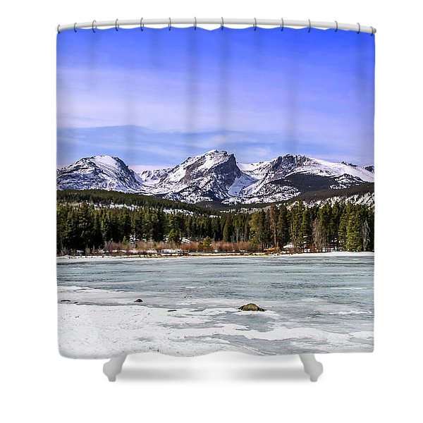Shower Curtain featuring the photograph Rocky Mountain Lake by Dawn Richards