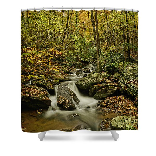 Shower Curtain featuring the photograph Rocky Stream Vertical by Meta Gatschenberger
