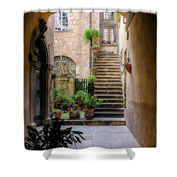 Shower Curtain featuring the photograph The Cobblestone Streets Of Sorrento Italy by Robert Bellomy