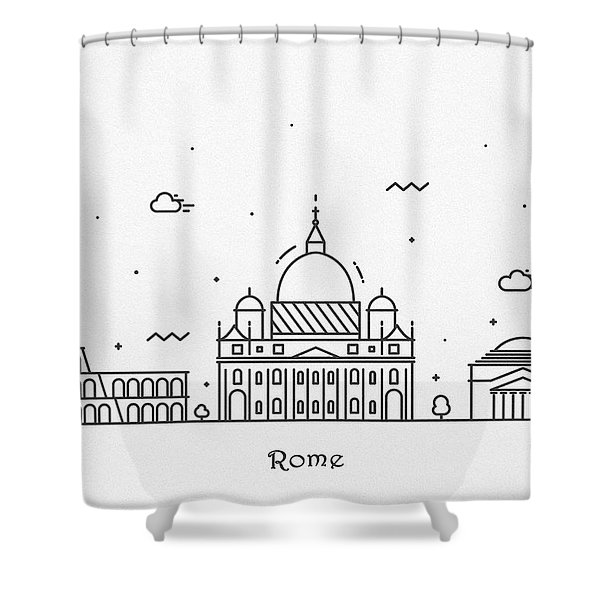 Rome Cityscape Travel Poster Shower Curtain