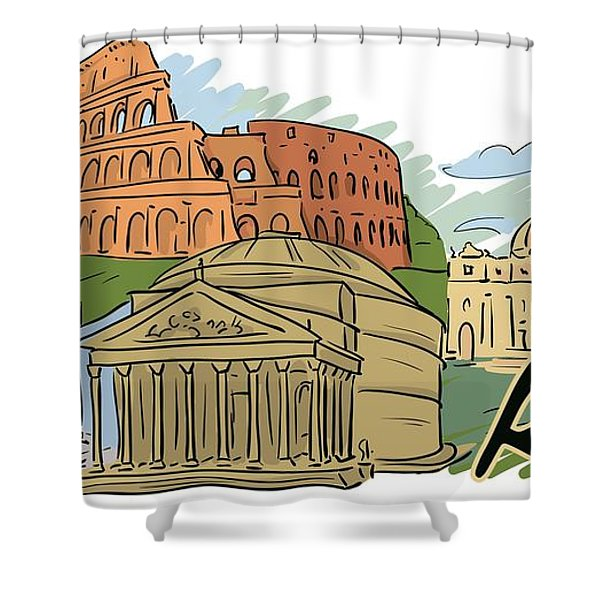 Shower Curtain featuring the digital art Rome In A Day by Stanley Mathis