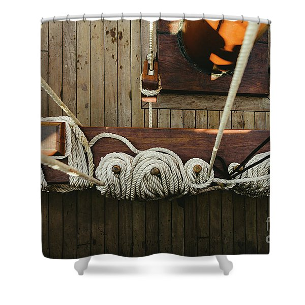 Ropes To Hold The Sails Of An Old Sailboat Rolled. Shower Curtain