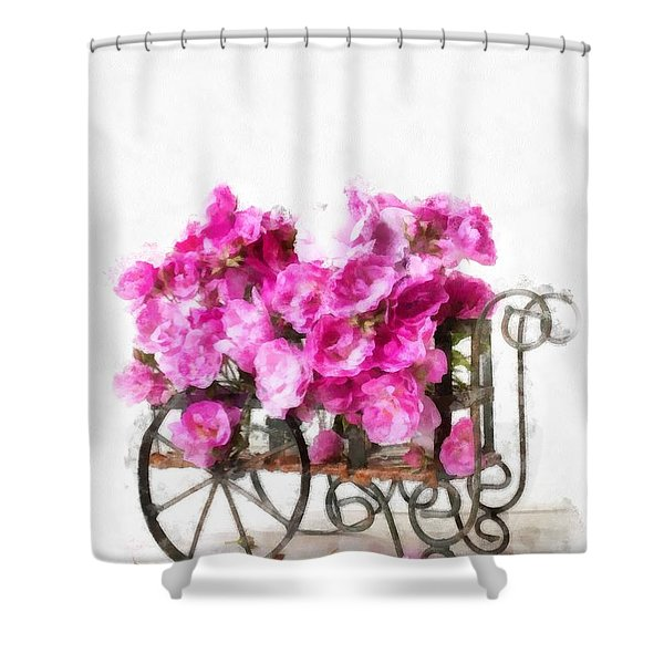 Rose Cart  Shower Curtain