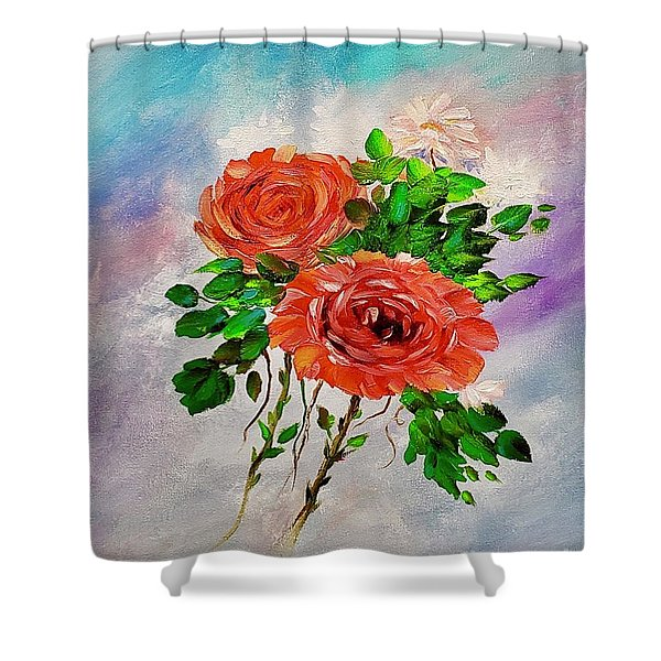 Shower Curtain featuring the painting Roses by Mary Scott