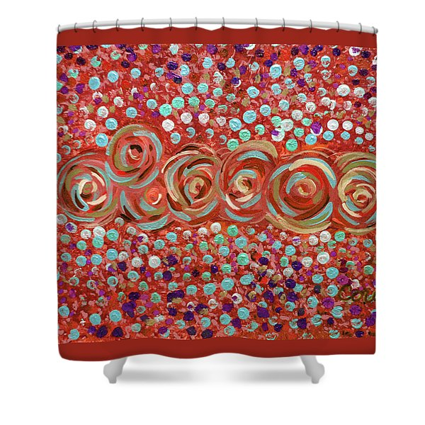 Roses Of Coral And Turquoise Shower Curtain