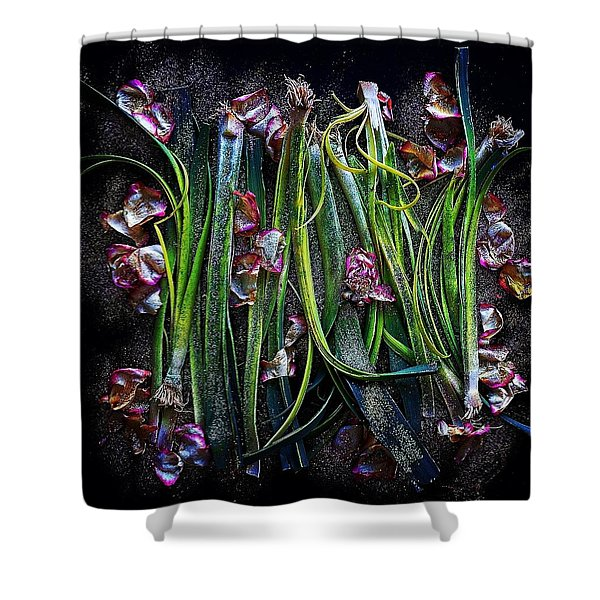 Rosy Leeks Shower Curtain