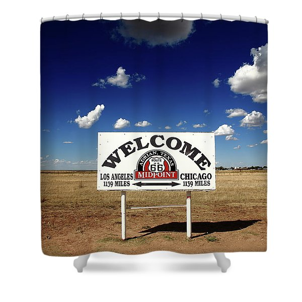 Route 66 - Midpoint Sign 2010 Bw Shower Curtain