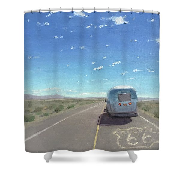Route 66, Somewhere In California Shower Curtain
