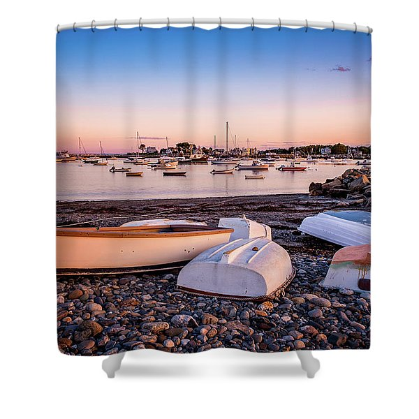 Shower Curtain featuring the photograph Rowboats At Rye Harbor, Sunset by Jeff Sinon