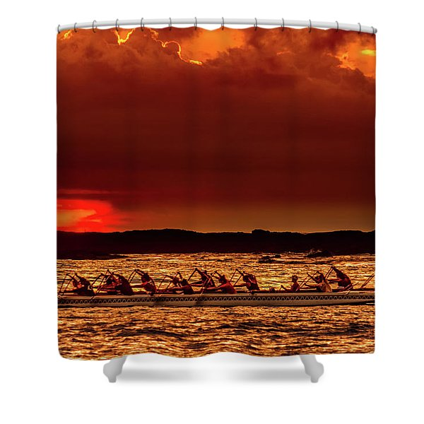 Rowing In The Sunset Shower Curtain