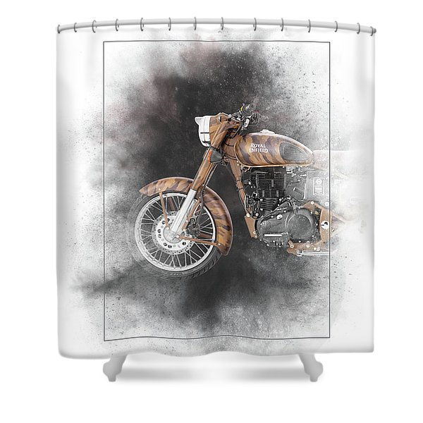 Royal Enfield Classic Desert Storm Painting Shower Curtain
