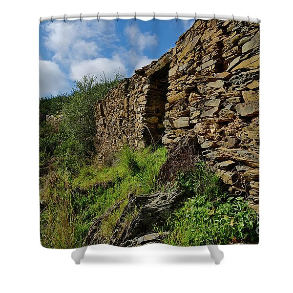 Ruins Of A Schist Cottage In Alentejo Shower Curtain