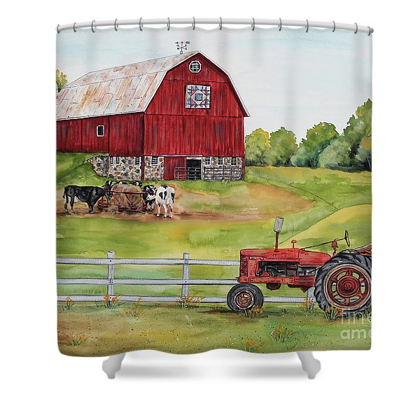 Rural Red Barn B Shower Curtain