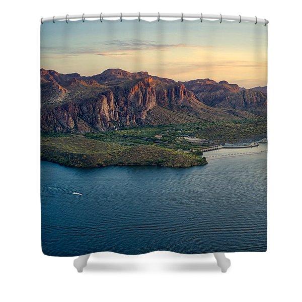 Saguaro Lake Mountain Sunset Shower Curtain