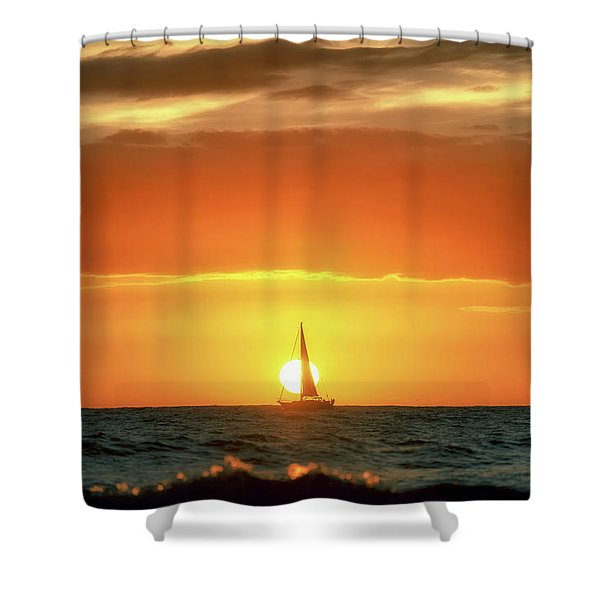 Sailboat In Front Of A Hawaiian Sunset Shower Curtain