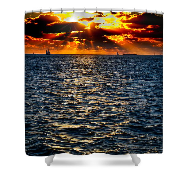 Shower Curtain featuring the photograph Sailboat Sunburst by Tom Gresham