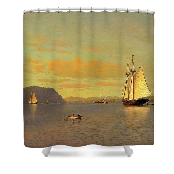 Sailing On The Hudson Near Nyack, 1872 Shower Curtain
