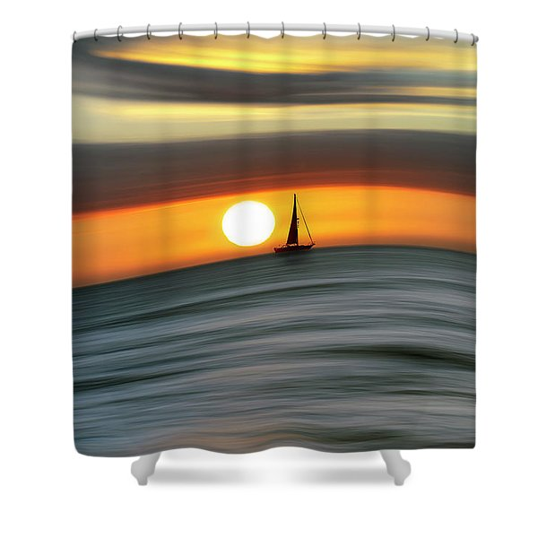 Sailing To The Sunset Shower Curtain