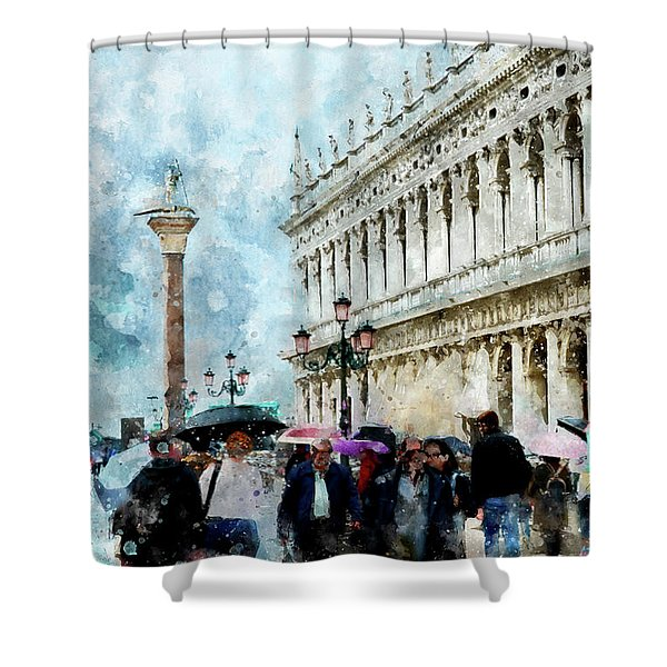 Saint Theodore Sculpture At Saint Mark Square In Venice, Italy - Watercolor Effect Shower Curtain