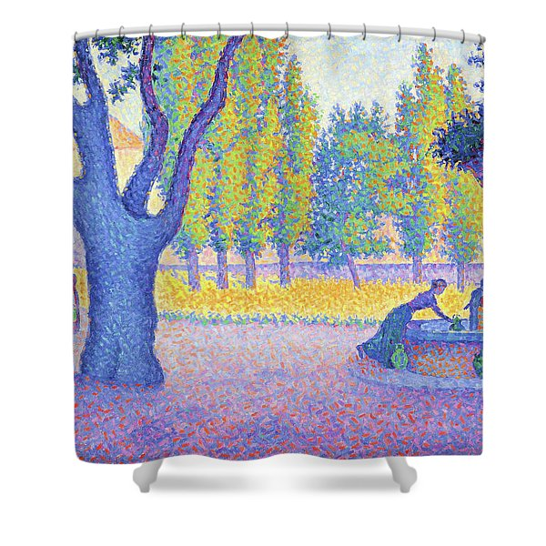 Saint-tropez, Fountain Of The Lices - Digital Remastered Edition Shower Curtain