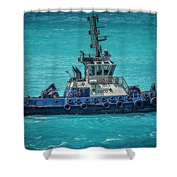 Salvage Tug Boat Shower Curtain