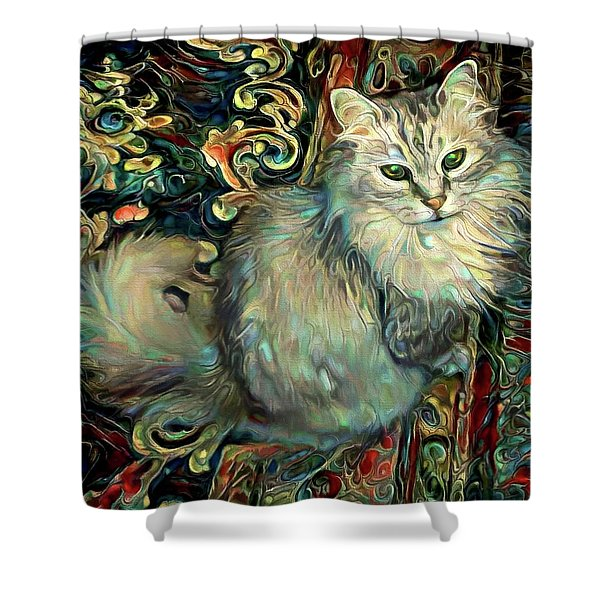 Samson The Silver Maine Coon Cat Shower Curtain