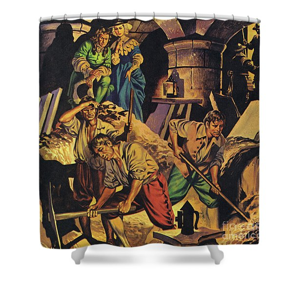Samuel Pepys Searching For A Hoard Of Money Supposedly Hidden In The Tower Of London Shower Curtain
