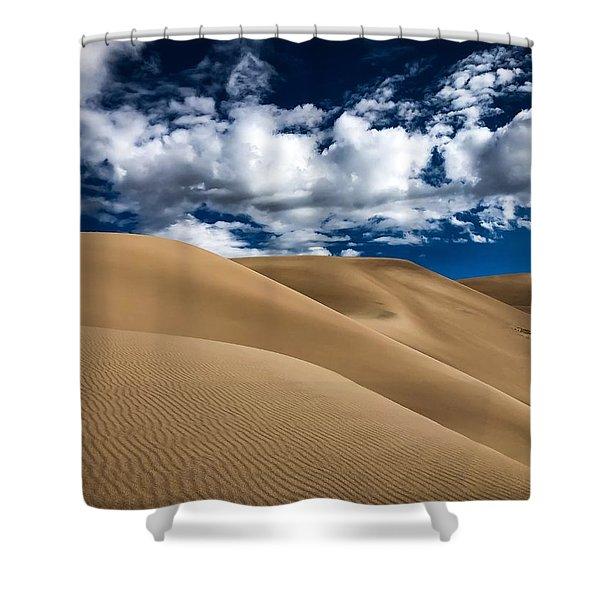 Sand Dunes Under A Blue Sky Shower Curtain