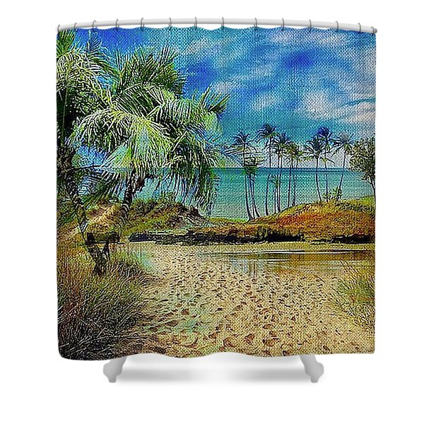 Sand To The Shore Montage Shower Curtain