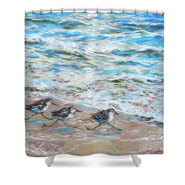Sanderlings Running Shower Curtain
