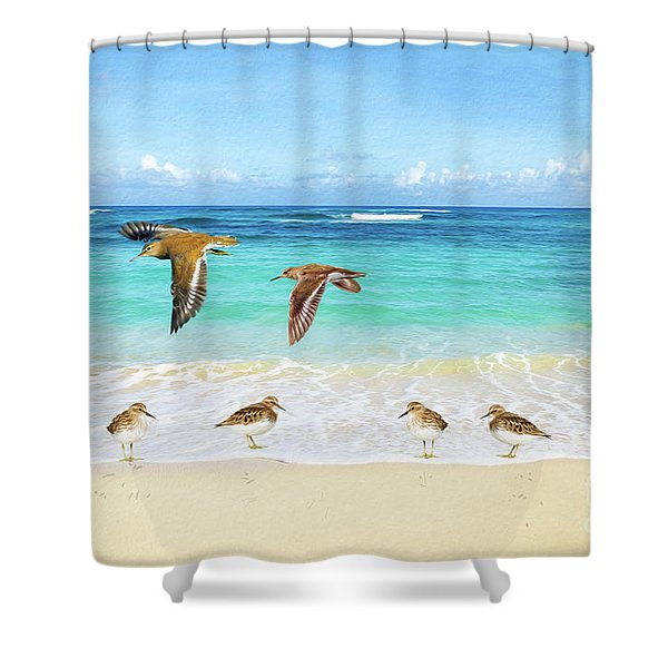 Sandpiper Party Shower Curtain