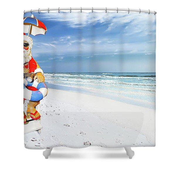 Santa Lifeguard Shower Curtain