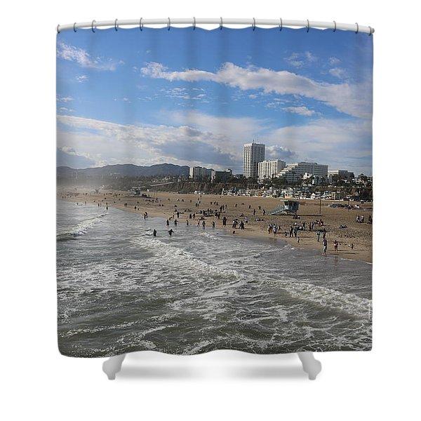 Santa Monica Beach , Santa Monica, California Shower Curtain