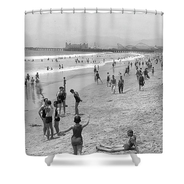 Santa Monica Beach Circa 1920 Shower Curtain