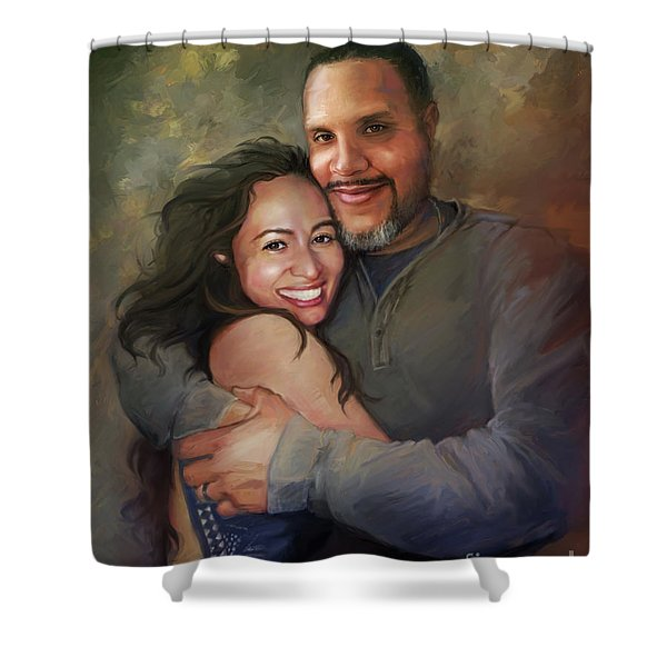 Sara And Ahmed Shower Curtain