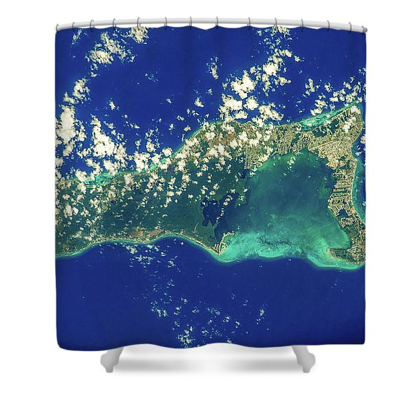 Satellite View Of Grand Cayman Shower Curtain