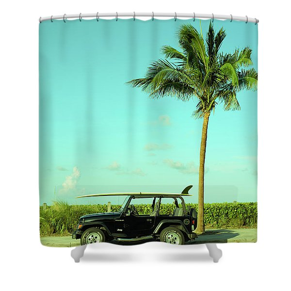 Saturday Surfer Jeep Shower Curtain