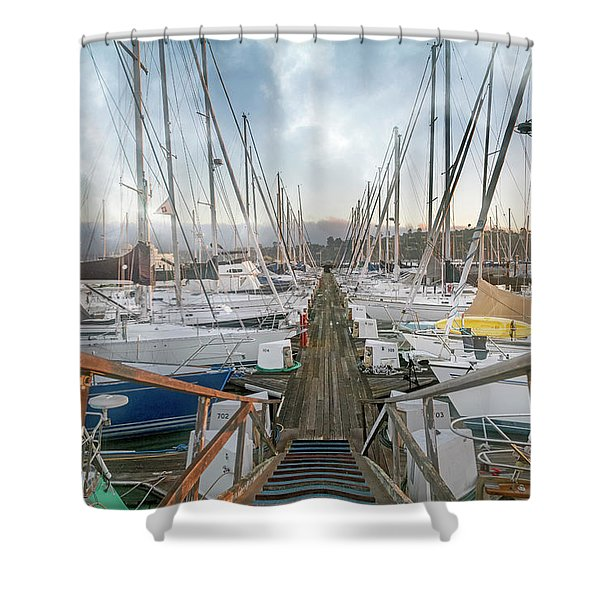Sausalito California Morning Harbor Club Shower Curtain