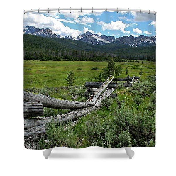 Sawtooth Range And 1975 Pole Fence Shower Curtain