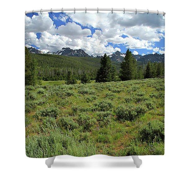 Sawtooth Range Crooked Creek Shower Curtain