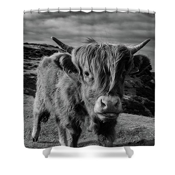Shower Curtain featuring the photograph Saying Hello To A Highland Cow At Baslow Edge Black And White by Scott Lyons