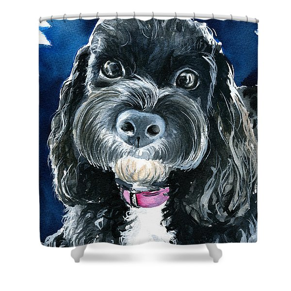 Scout - Cavoodle Dog Painting Shower Curtain
