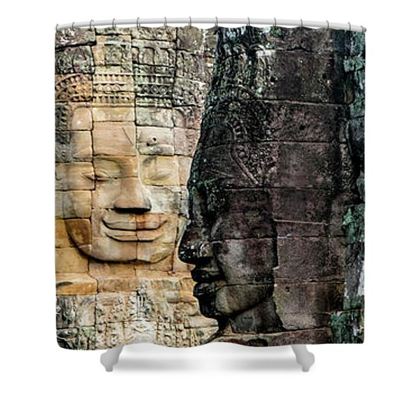 Sculptures At Bayon Temple, Angkor Shower Curtain