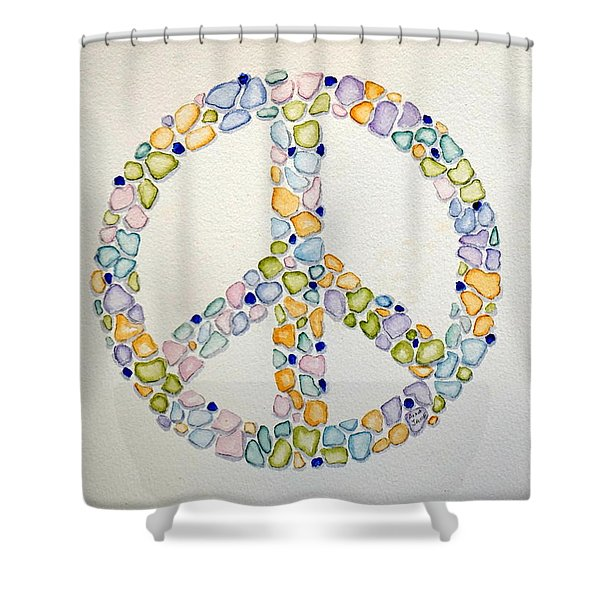 Sea Glass Peace Symbol Shower Curtain