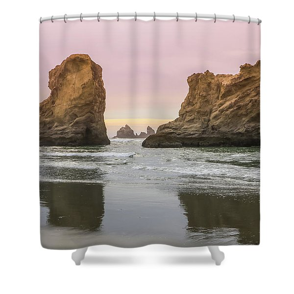 Shower Curtain featuring the photograph Sea Stack And Spires Sunset 1, Bandon Beach, Oregon by Dawn Richards