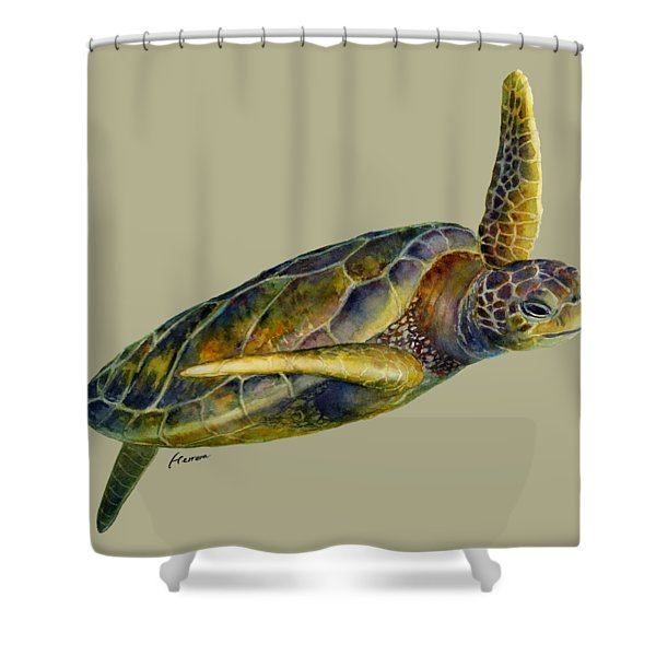 Sea Turtle 2 - Solid Background Shower Curtain