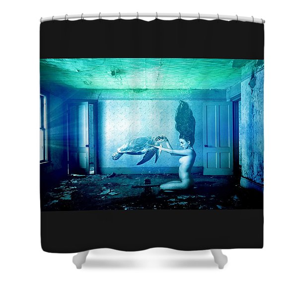 Sea Turtle And Woman Shower Curtain